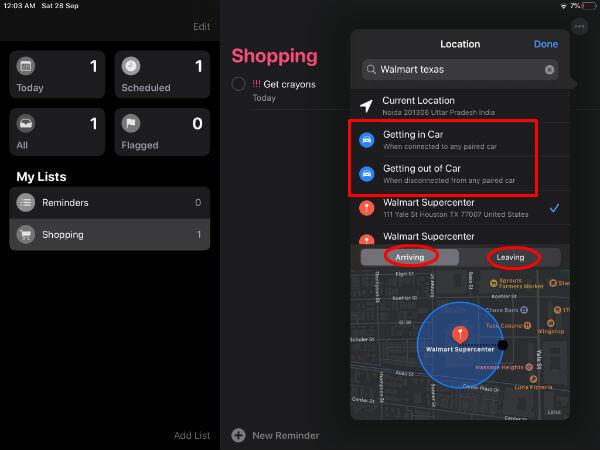iPad location based reminder