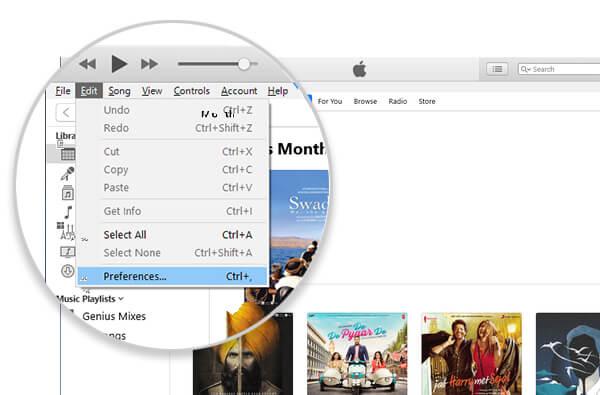 iTunes preferences menu