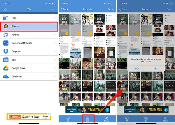 Create Archive Zip Files on iPhone from Photos using iZip App