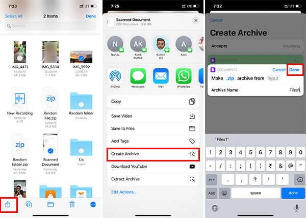 Create Zip FIle using Shortcuts on iOS 12 iPhone
