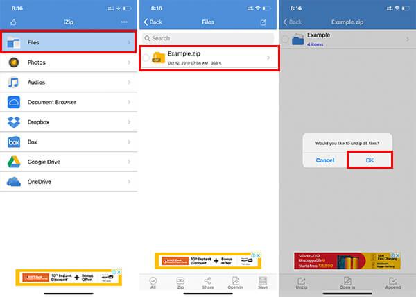 Extract Zip Files on iPhone using iZip App