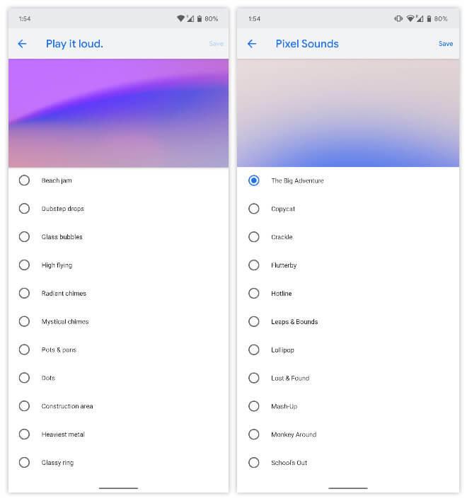 Select Ringtones from Pixel Sounds App