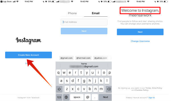 Instagram create personal account iPhone
