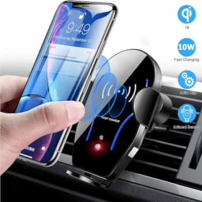 Mikikin Auto-Clamping Qi 10W 7.5W Fast Charging Car iPhone 11
