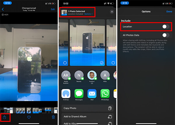 Remove Location Data from Photos on iPhone while sharing