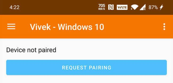 Request pairing from Android to Windows