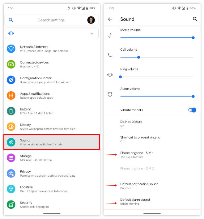 Change ringtone and sounds on Android