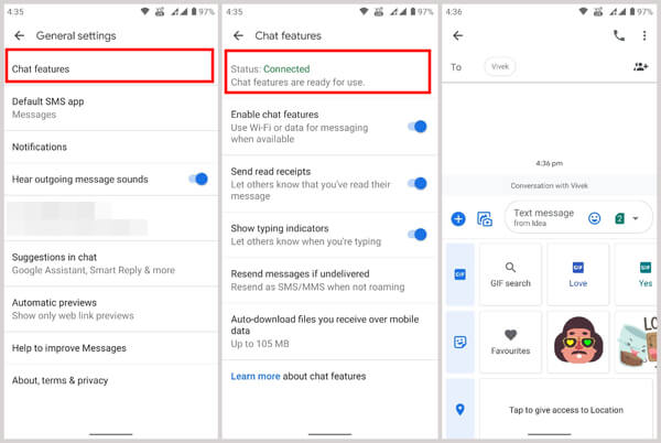 Enable RCS Chat, iMessage for Android, iMessage alternative