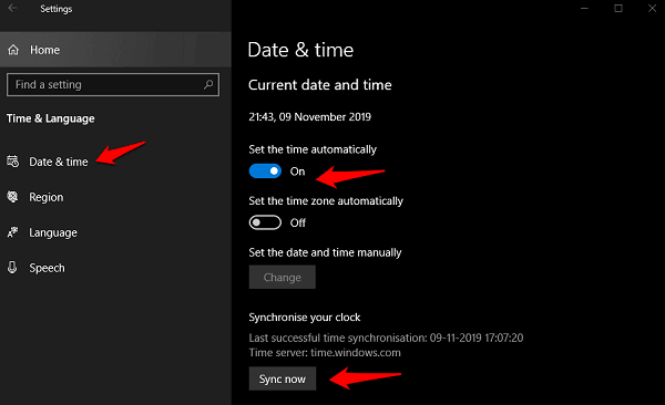 Fix Time Not Updating or Syncing in Windows 10 1