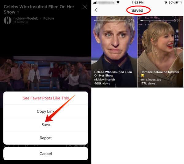 Instagram save igtv videos