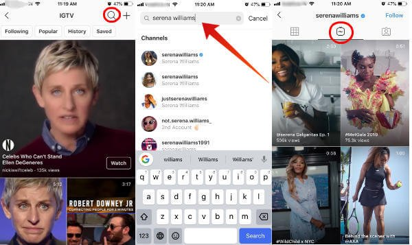 Instagram search igtv videos