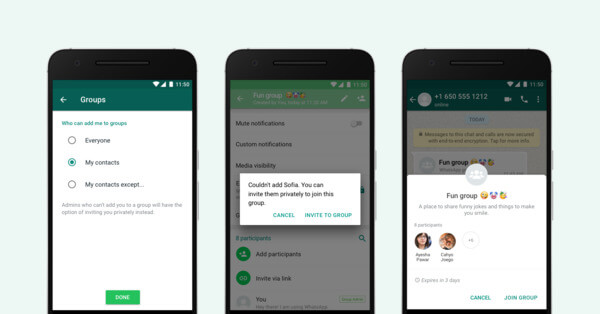 WhatsApp Group Inivtation via Private Chat