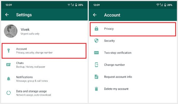 Navigate To WhatsApp Privacy Settings