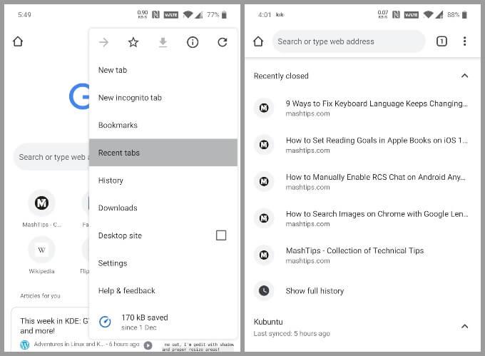 Ripristina le schede chiuse di recente in Chrome per Android