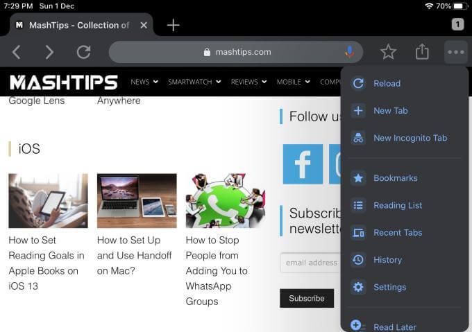 Chrome Menu on iPad