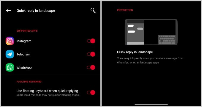 Enable quick reply on OnePlus