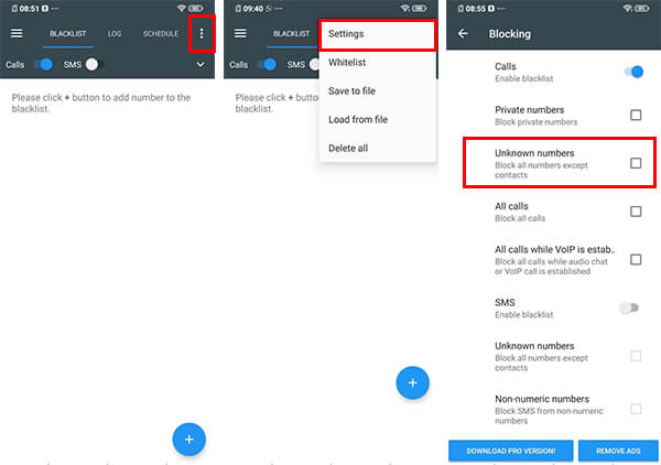 Block Unknown Numbers on Android using Call Blocker App