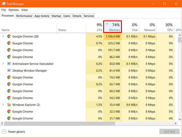 Check Memory Usage on Windows 10 using Task Manager