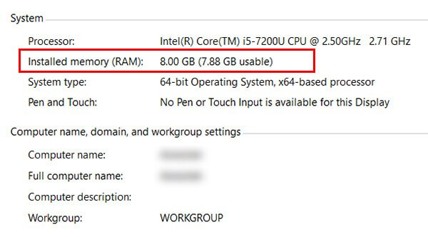 Find RAM from Control Panel on Windows