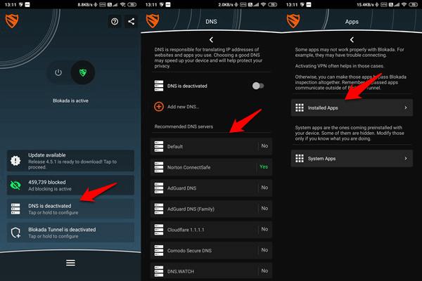 dns settings in ad blocker