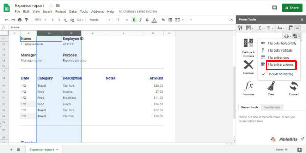 Google Sheets Swap columns with power tools