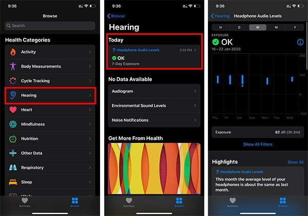 Headphone Audio Levels on Health app in iPhone