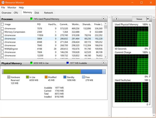 RAM Usage on Resource Monitor in Windows