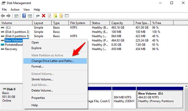 disk management option