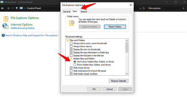 view hidden files, folders, and drives option