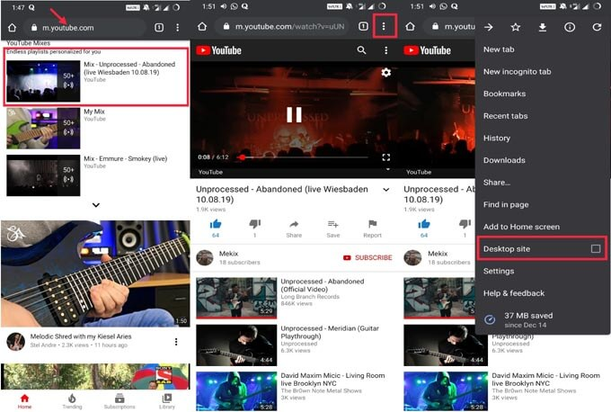 YouTube Audio streaming