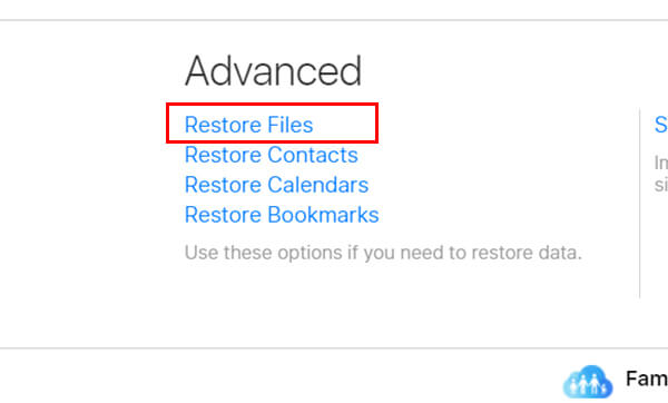 choose restore files from iCloud Settings