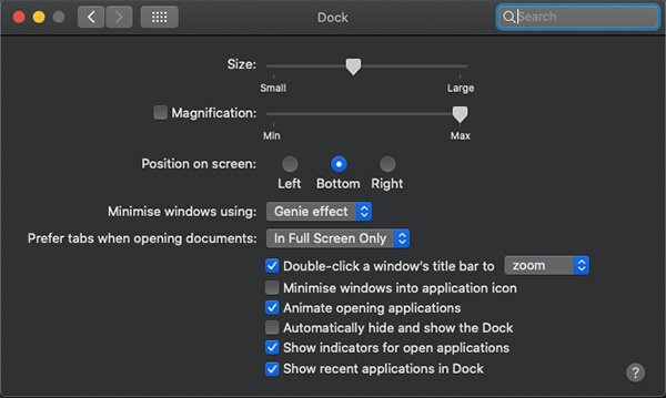 customize dock settings on MacBook Pro