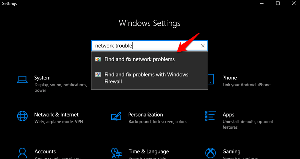 windows settings troublehoot