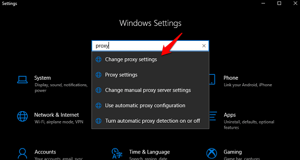 windows settings search