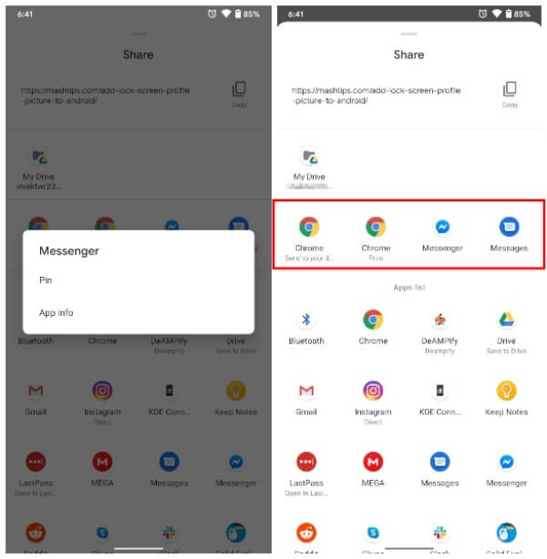 pin apps to share menu Android R new feature