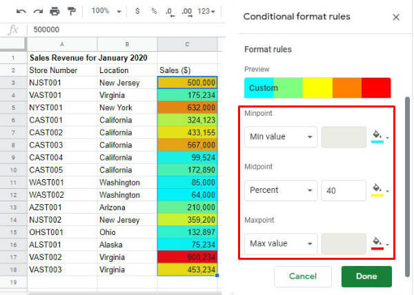 Google sheet conditional formatting color range result