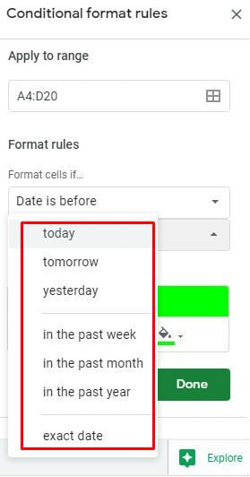 Google sheet conditional formatting date