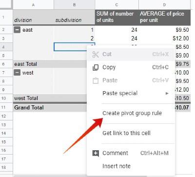 Google sheet pivot group rule