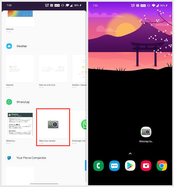 Hidden Features: WhatsApp camera on home screen