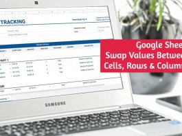 Swap Values Between Rows Column Google Sheets