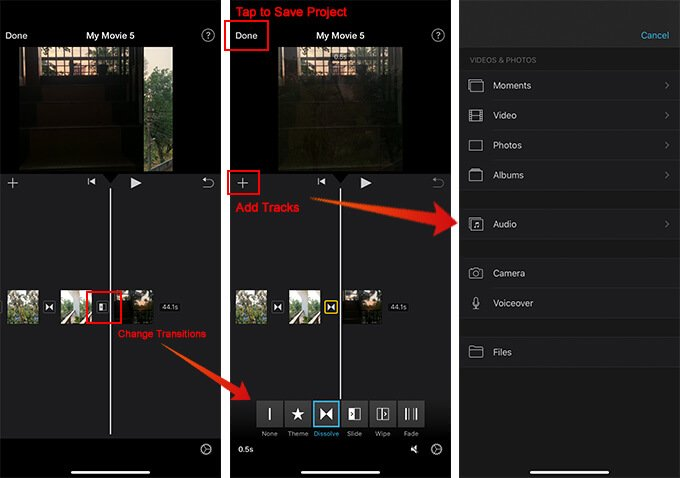 Add Track and Save Project in iMovie iOS