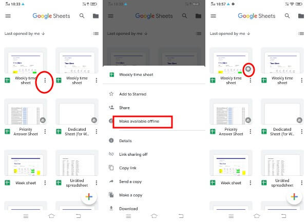 Android Google Sheets Make Specific Files Offline