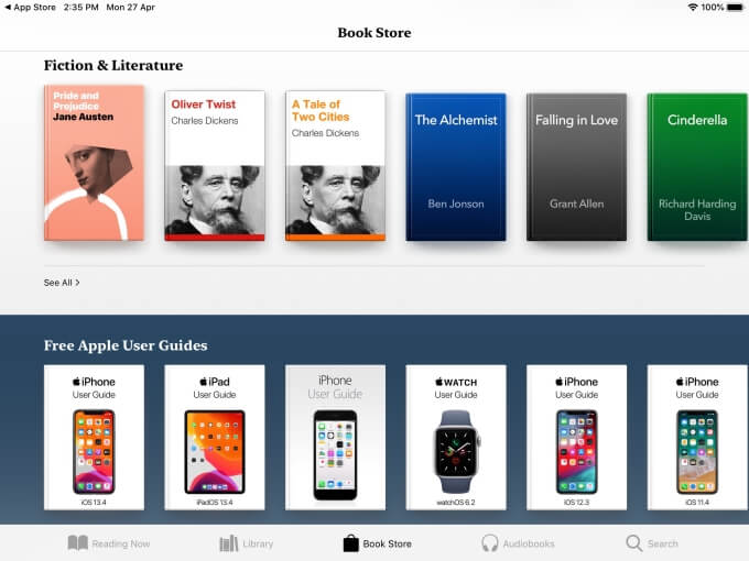 Apple Books ePub reader for iPad