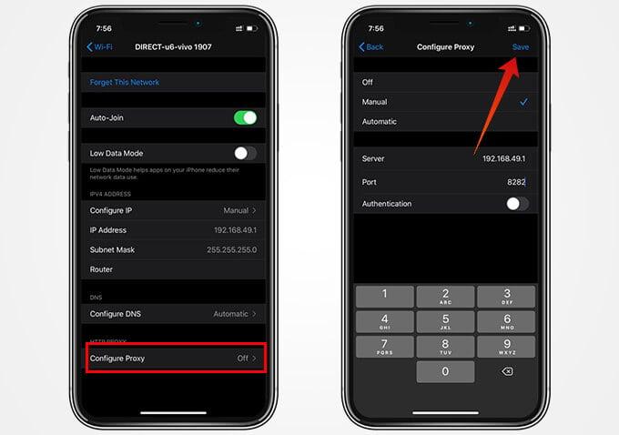 Change Proxy Settings for WiFi on iPhone