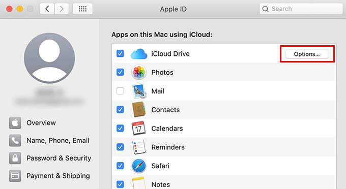 Click on iCloud Drive options from System Preferences