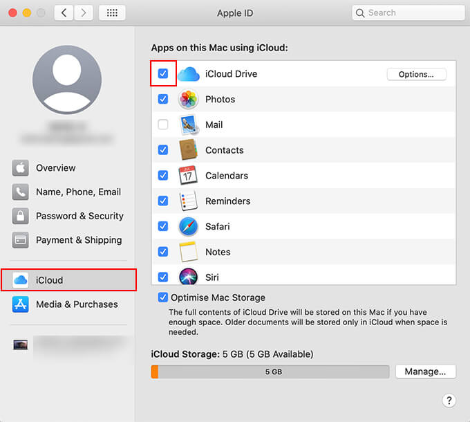 Click to enable iCloud Drive on MacOS