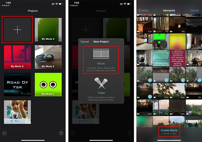 Create new Project in iMovie on iOS to Combine Videos on iPhone