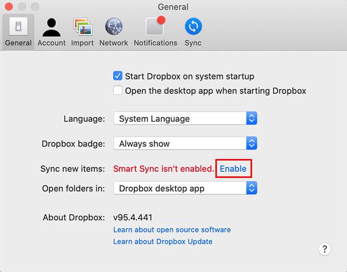 Enable Dropbox Smart Sync on Mac