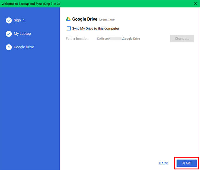 Finish Setting up Google Backup and Sync on Windows 10