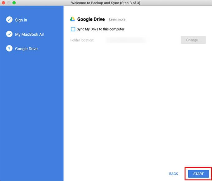 Finish setup to sync mac folders with Google Drive